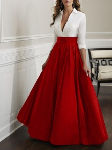 Red Pleated Big Swing V-neck Prom Evening Party Maxi Dress