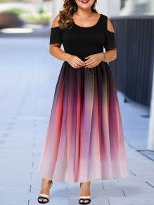 Red Patchwork Grenadine Pleated Prom Evening Party Maxi Dress