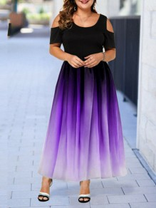 Purple Patchwork Grenadine Pleated Prom Evening Party Maxi Dress