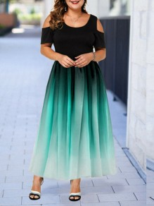Green Patchwork Grenadine Pleated Prom Evening Party Maxi Dress
