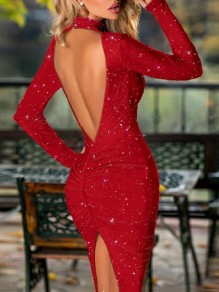 Red Bright Wire Backless Bodycon Sparkly Glitter Birthday Party Maxi Dress
