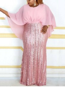 Pink Patchwork Sequin Dolman Sleeve Cloak Sparkly Glitter Birthday Plus Size Party Maxi Dress