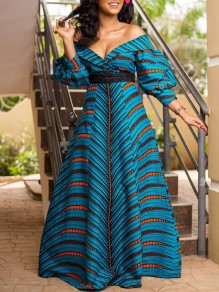 Blue Striped Off Shoulder Pleated Backless Bohemian Prom Evening Party Maxi Dress