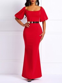 Red Bodycon Mermaid Prom Evening Party Maxi Dress