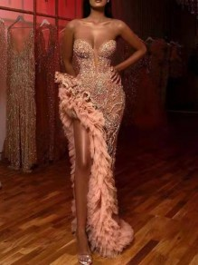 Pink Patchwork Grenadine Sequin Off Shoulder Irregular Sparkly Glitter Birthday Prom Evening Party Maxi Dress