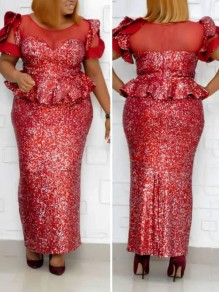 Red Patchwork Sequin Ruffle Bodycon Mermaid Sparkly Glitter Birthday Party Maxi Dress