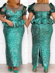 Green Patchwork Sequin Ruffle Bodycon Mermaid Sparkly Glitter Birthday Party Maxi Dress