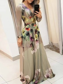 Green Floral Pleated V-neck Bohemian Party Maxi Dress