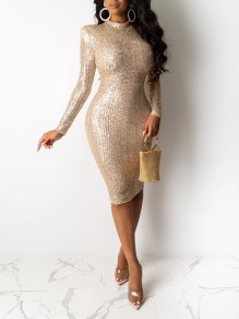 Khaki Patchwork Sequin Bodycon Sparkly Glitter Birthday Party Maxi Dress