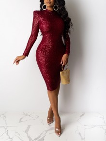 Burgundy Patchwork Sequin Bodycon Sparkly Glitter Birthday Party Maxi Dress