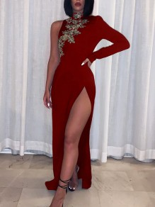 Burgundy Patchwork Lace Asymmetric Shoulder Bodycon Thigh High Side Slits Prom Evening Party Maxi Dress