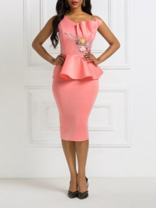 Pink Asymmetric Shoulder Ruffle Peplum Bodycon Elegant Party Maxi Dress
