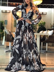 Black Floral Pleated Sheer V-neck Bohemian Party Maxi Dress
