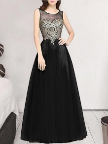 Black Patchwork Grenadine Appliques Sleeveless Party Maxi Dress