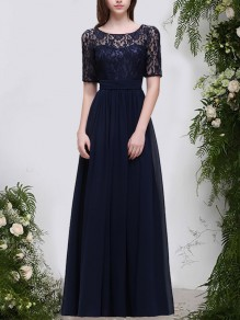 Navy Blue Patchwork Lace Sashes Pleated Round Neck Backless Maxi Dress