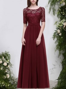 Wine Red Patchwork Lace Sashes Pleated Round Neck Backless Maxi Dress