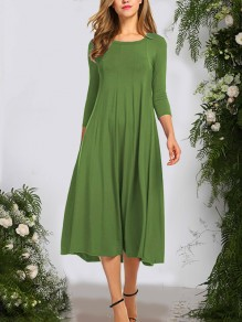 Olive Green Pleated Draped Round Neck 3/4 Sleeve Fashion Casual Maxi Dress