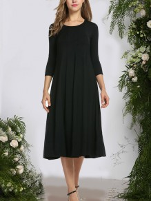 Black Pleated Draped Round Neck 3/4 Sleeve Fashion Casual Maxi Dress