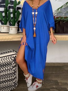 Blue Side Slit Bodycon V-neck 3/4 Sleeve Going out Maxi Dress