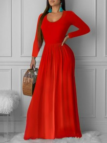 Red Pleated Round Neck Long Sleeve Big Swing Casual Church Maxi Dress