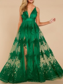 Green Patchwork Grenadine Embroidery Spaghetti Strap Backless Deep V-neck Maxi Dress