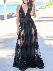 Black Patchwork Grenadine Floral Embroidery Spaghetti Strap Backless Deep V-neck Elegant Party Prom Maxi Dress