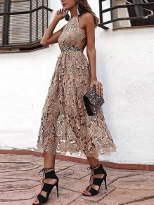 Apricot Patchwork Lace Backless Halter Neck Sleeveless Elegant Maxi Dress
