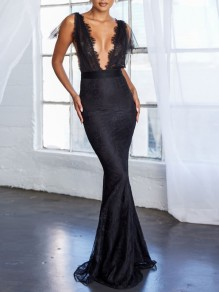 Black Patchwork Lace Deep V-neck Backless Slit Mermaid Maxi Dress