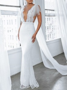 White Patchwork Lace Deep V-neck Backless Slit Mermaid Maxi Dress