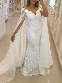 White Patchwork Lace Irregular V-neck Sleeveless Elegant Wedding Gowns Prom Banquet Cape Maxi Dress