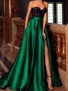 Green Patchwork Lace Bandeau Pleated Sleeveless Slit Elegant Maxi Dress