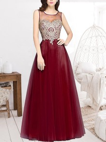 Burgundy Patchwork Appliques Grenadine Sheer Pleated Sleeveless Bridesmaid Elegant Maxi Dress