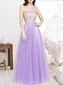 Lilac Purple Patchwork Appliques Grenadine Sheer Pleated Sleeveless Bridesmaid Elegant Maxi Dress