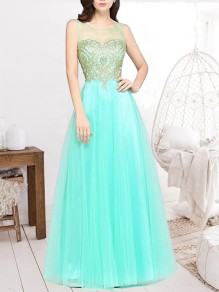 Light Green Patchwork Appliques Grenadine Sheer Pleated Sleeveless Bridesmaid Elegant Maxi Dress