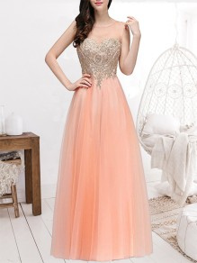 Nacarat Patchwork Appliques Grenadine Sheer Pleated Sleeveless Bridesmaid Elegant Maxi Dress