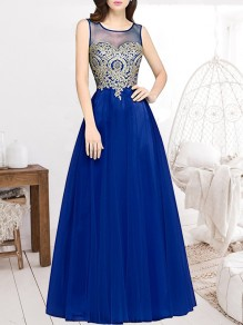 Sapphire Blue Patchwork Appliques Grenadine Sheer Pleated Sleeveless Bridesmaid Elegant Maxi Dress