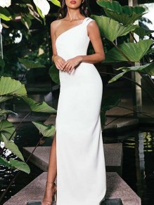 White Asymmetric Shoulder Side Slit Bodycon Banquet Party Maxi Dress