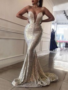 Silver Patchwork Sequin Spaghetti Strap Deep V-neck Mermaid Banquet Maxi Dress