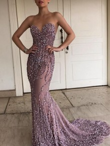 Pink Silver Patchwork Sequin Bandeau Sleeveless Trumpet Banquet Maxi Dress