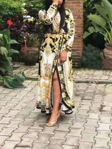 White Africa Tribal Print Belt Lace-up V-neck Long Puff Sleeve Falbala Flowy Maxi Dress