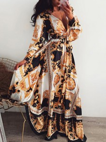 White Africa Tribal Print V-neck Long Sleeve Flowy Bohemian Maxi Dress