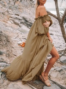 Khaki Ruffle Off Shoulder Long Sleeve Flowy Bohemian Beach Maxi Dress