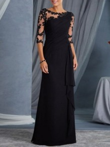 Black Patchwork Lace Draped Round Neck 3/4 Sleeve Elegant Maxi Dress