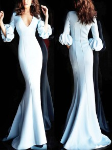 White V-neck Three Quarter Length Puff Sleeve Bodycon Mermaid Formal Wedding Maxi Dress
