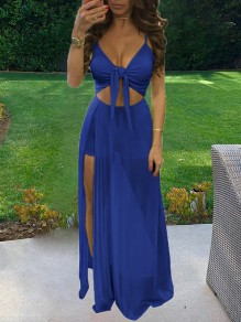 Dark Blue Shoulder-Strap Lace-up V-neck Crop Grenadine Sheer Side Slit Skirt Beach Maxi Dress