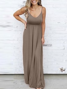 Camel Draped Spaghetti Strap V-neck Sleeveless Elastic Waist Fashion Casual Maxi Dress