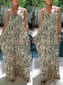 White Dollar Print Shoulder-Strap V-neck Big Swing Casual Maxi Dress