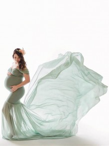 Freshwater Green Patchwork Flowy Chiffon Draped Off-shoulder For Babyshower Elegant Pregnant Maternity Maxi Dress