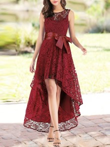 Wine Red Patchwork Lace Irregular Bow Sleeveless Party Maxi Dress