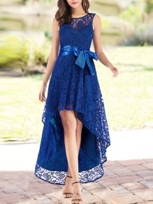 Blue Patchwork Lace Irregular Bow Sleeveless Party Maxi Dress